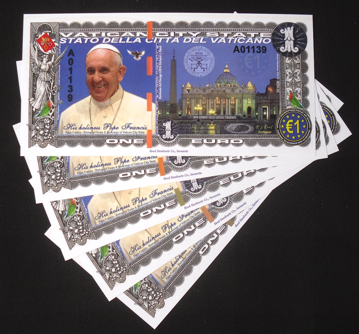NEW SPECIMEN 1 EURO 2016 POPE FRANCIS VATICAN CITY POLYMER FANTASY ART BANKNOTE!