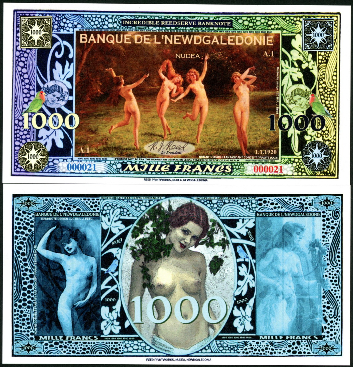 NEW NUDEDENLAND 1000 NUDOLLARS NAKED LADY SEATED NUDE FANTASY MONEY ART NOTE!