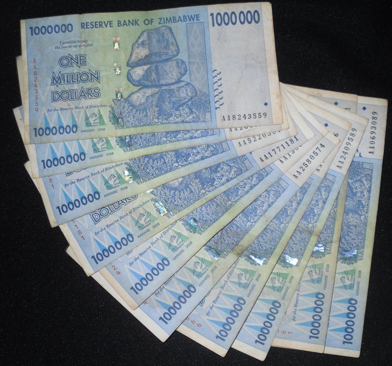 P-89 2008 20 Trillion UNC /> 50 and 100 trillion series Zimbabwe