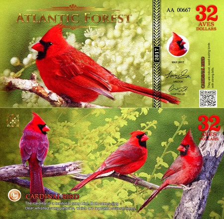 UNC 2017 ATLANTIC FOREST 32 Aves Dollars 2017