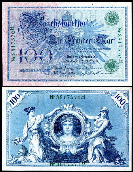 1908 /& 1910 FINE to VF Set//4 Different 100 /& 1000 Mark Notes Germany