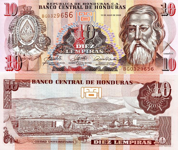 HONDURAS 20 LEMPIRA 1994 P 73 c UNC