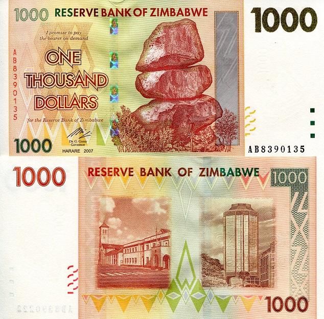 ZIMBABWE 1,000 1000 Dollars 2007 P-71 UNC Uncirculated